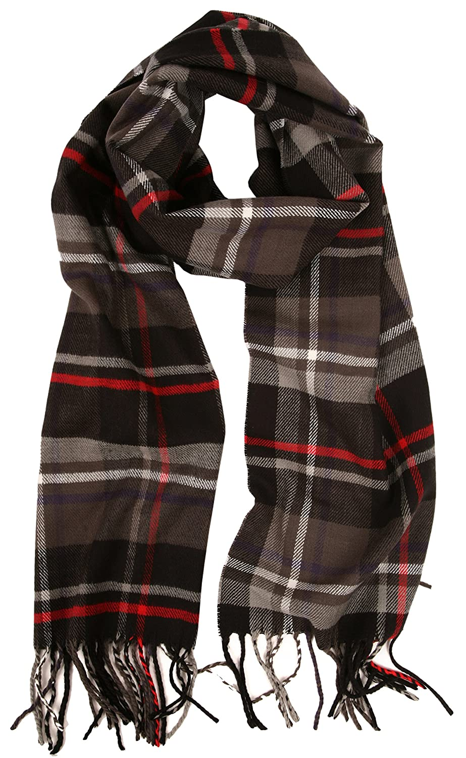 8d958ad32 Love Lakeside-Men's Cashmere Feel Winter Plaid Scarf (One, 001-Gray, Black,  Red) at Amazon Men's Clothing store: