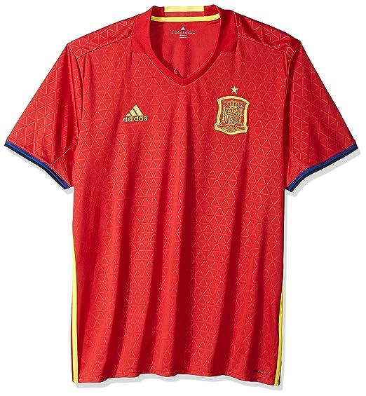 Amazon.com  adidas Men s Spain 15 16 Home Scarlet Lemon Peel Jersey ... 0edaa15fa272