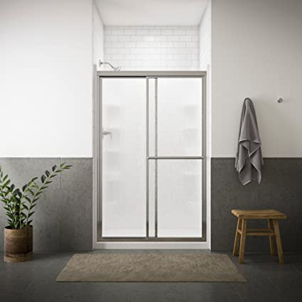 STERLING 5976-48S Deluxe By-Pass Bath Door, Silver with Rain Texture ...