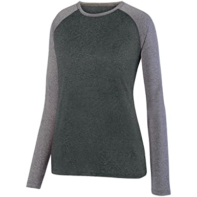 Augusta Sportswear Women s Kinergy Two Color Long Sleeve Raglan Tee S Black  Heather Athletic Heather 8cdb3528f62