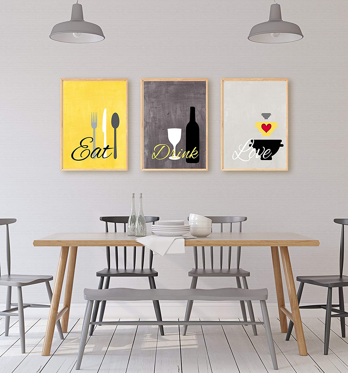 Eat Drink Love Country Yellow and Grey Kitchen Wall Art Set of 3 8x10  Prints ((unframed))