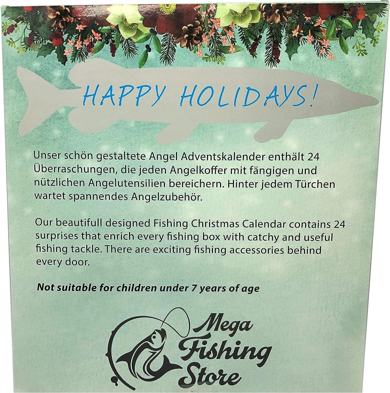 Angel Tackle /& Zubeh/ör Weihnachtskalender Mega Fishing Angler Adventskalender Advents Raubfisch Kalender