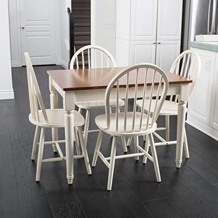 Great Deal Furniture Gates 5-Piece Spindle Wood Dining Set with Leaf Extension