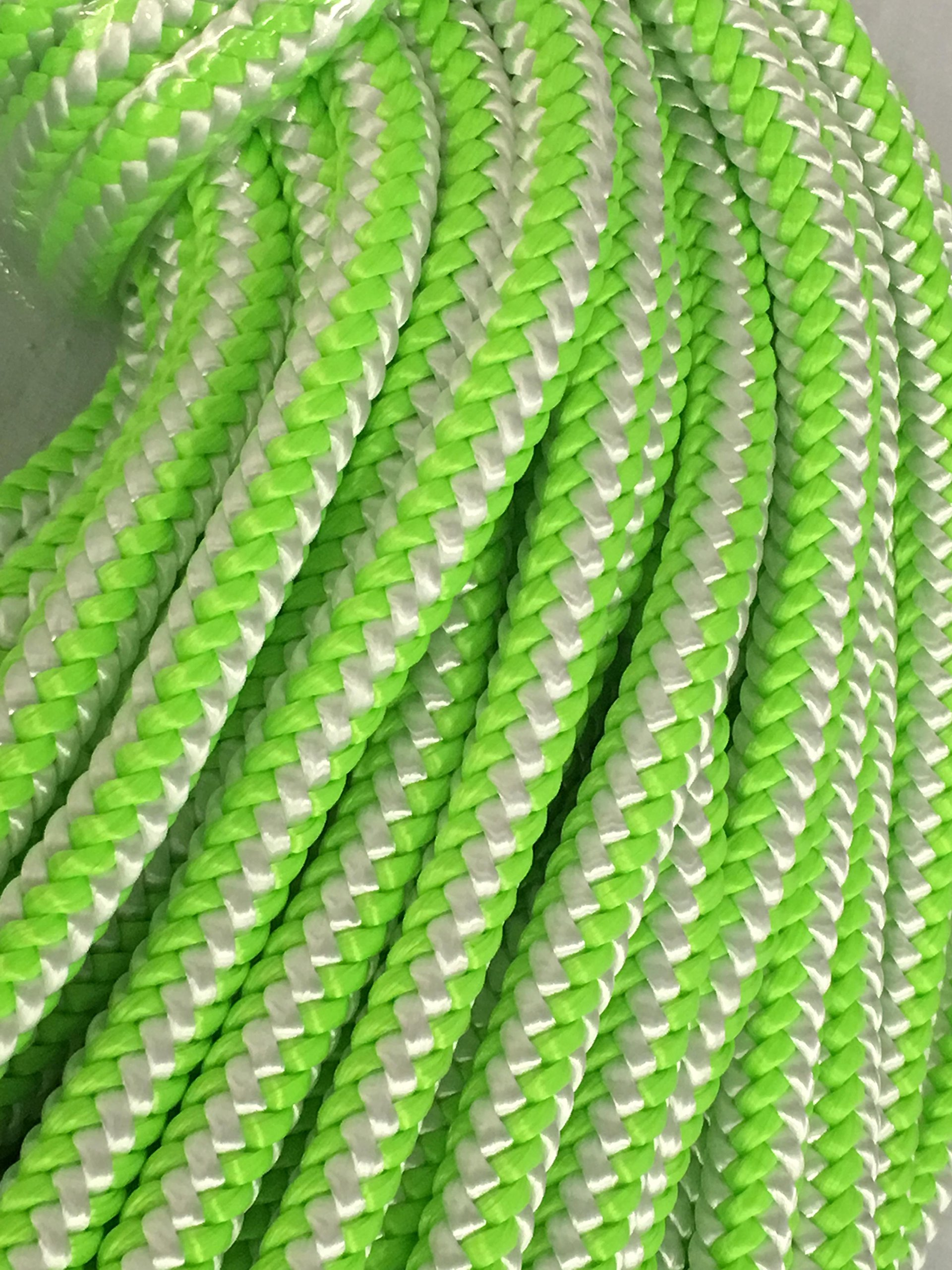 7/16'', 12-Strand Polyester Rope, Green and White (300 feet)