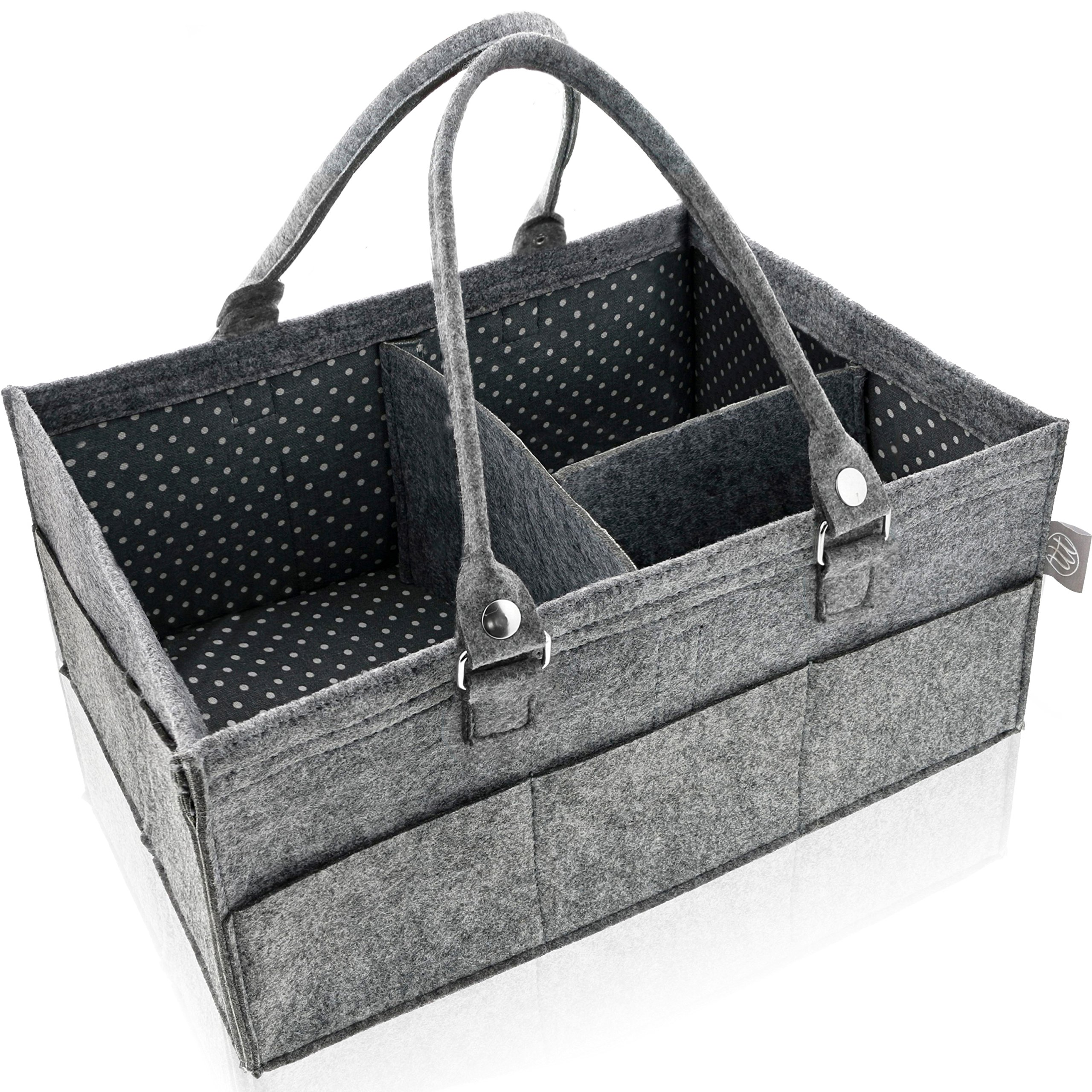 Diaper Caddy Organizer - Nursery Storage Bin - Baby Shower Gift Basket for Girl or Boy - Car Travel Caddy Organizer for Kid Toys and Wipes - Newborn Registry Must Have