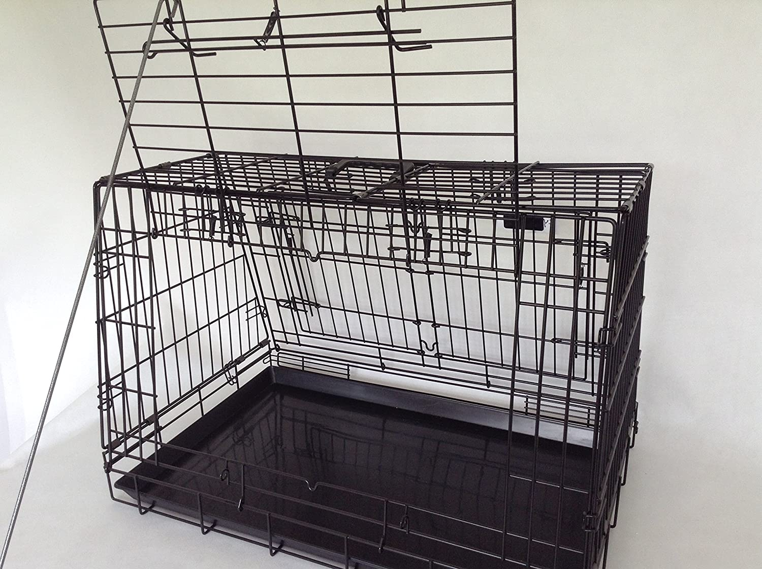 Double Sloping shaped dog car cage with 4 doors divider