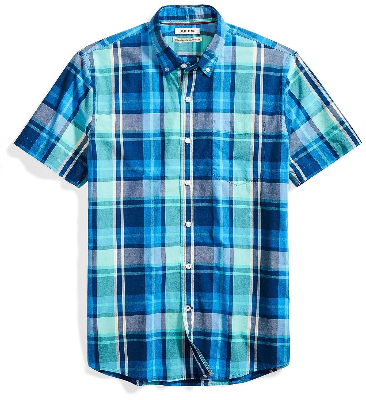 Goodthreads Mens Standard-Fit Short-Sleeve Large-Scale Plaid Shirt