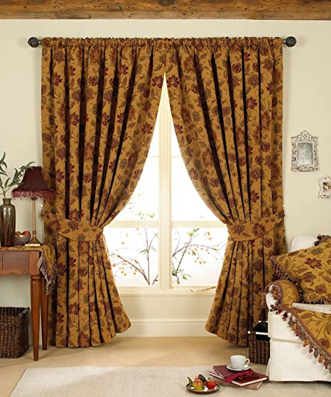 GOLD RED TAPESTRY CHENILLE FLORAL PENCIL PLEAT CURTAINS *3 SIZES