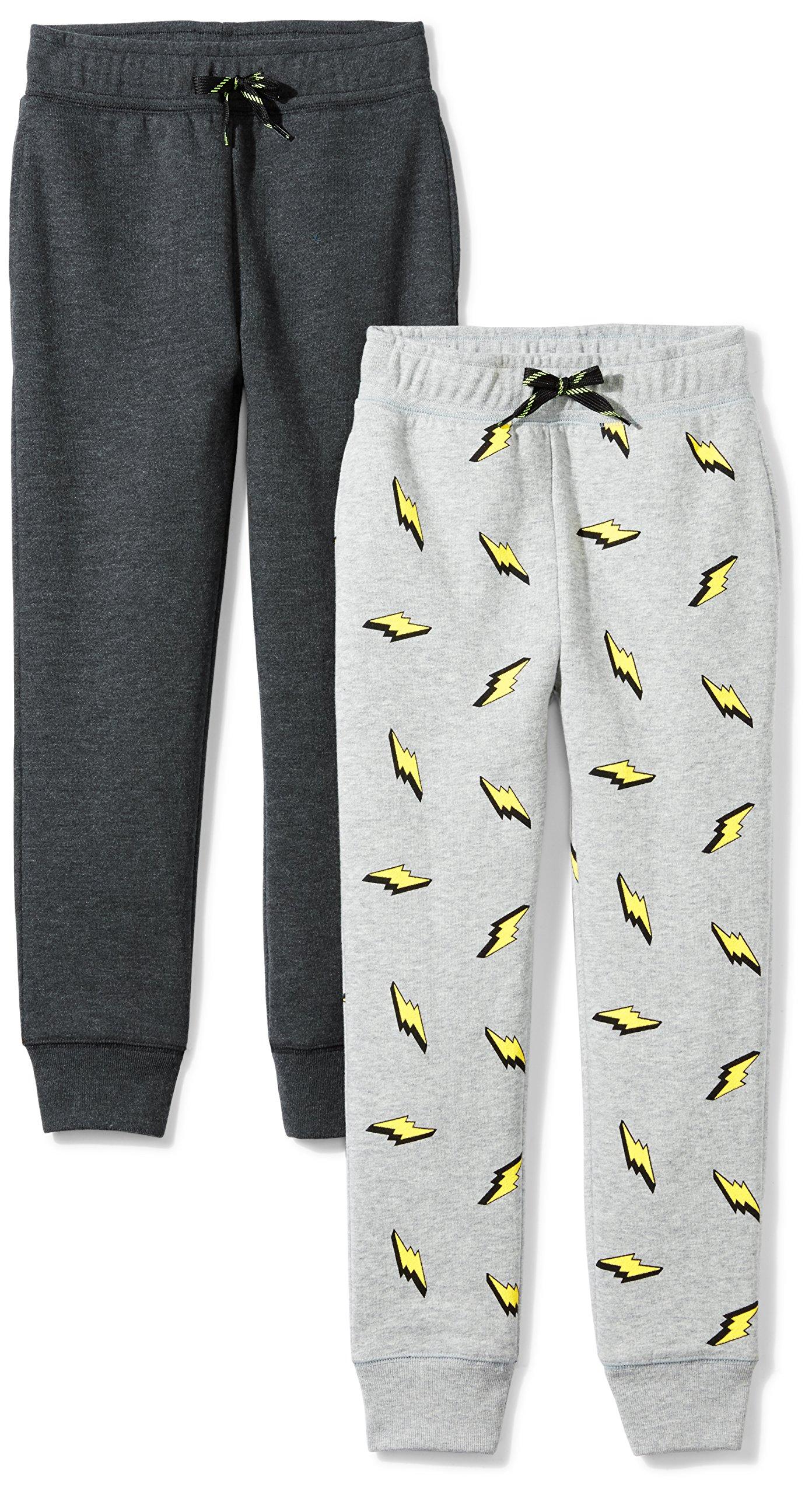 Spotted Zebra Little Boys' 2-Pack Fleece Jogger Pants, Lightning Bolt/Grey, X-Small (4-5)