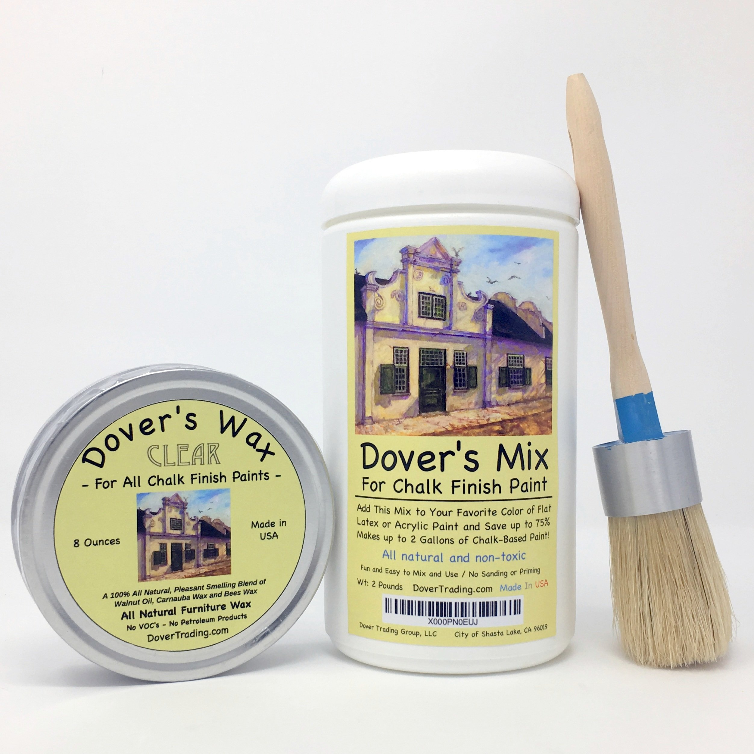 "Chalk Paint and Wax Brush by Dover's has a MEDIUM Flat Oval Head (2""x1.25"") of Natural Boar Hair Bristles Set in Epoxy in a Rust-Proof Band for Maximum Paint Holding and Minimal Stroke Marks"