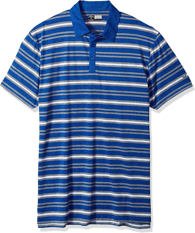 Callaway Mens Big /& Tall Opti-Soft Short Sleeve Heather Striped Polo