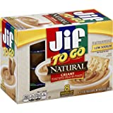 Jif To Go Natural Creamy Peanut Butter Spread, 12 Ounce (Pack of 6)