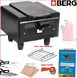 Berg Mini Cast Iron Electric Tandoor with Pizza Cutter, Magic Cloth, Aluminium Tray, Shockproof Rubber Legs, Recipe Book (Black)