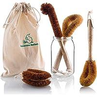 Eco Dish Brush Set, Bottle Brush, Dish Scrubber, Pot & Veggie Scourers, Organic Coconut Bristles 4 Piece Plus Produce…