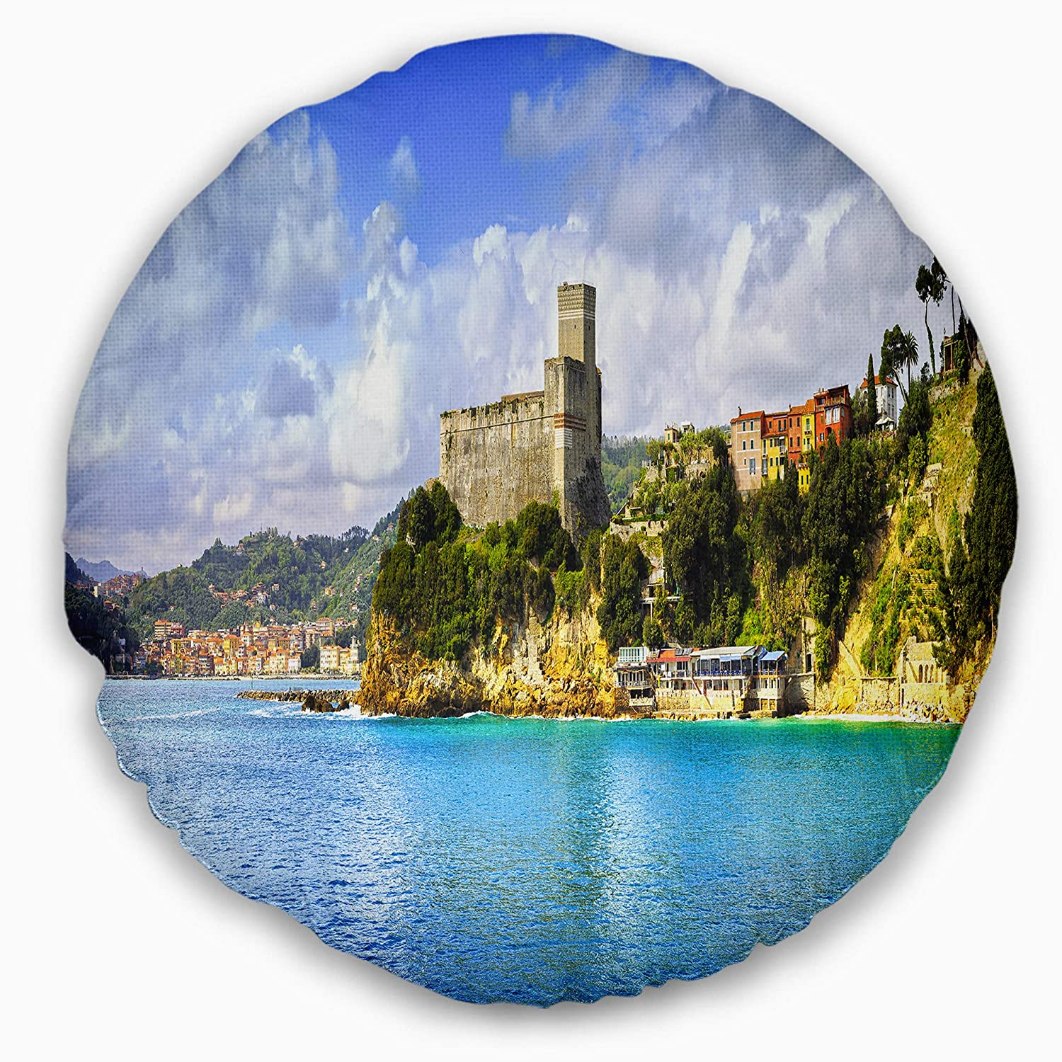 Insert Printed On Both Side Designart CU8376-16-16-C Lerici Village Panorama Seascape Round Cushion Cover for Living Room 16 Sofa Throw Pillow