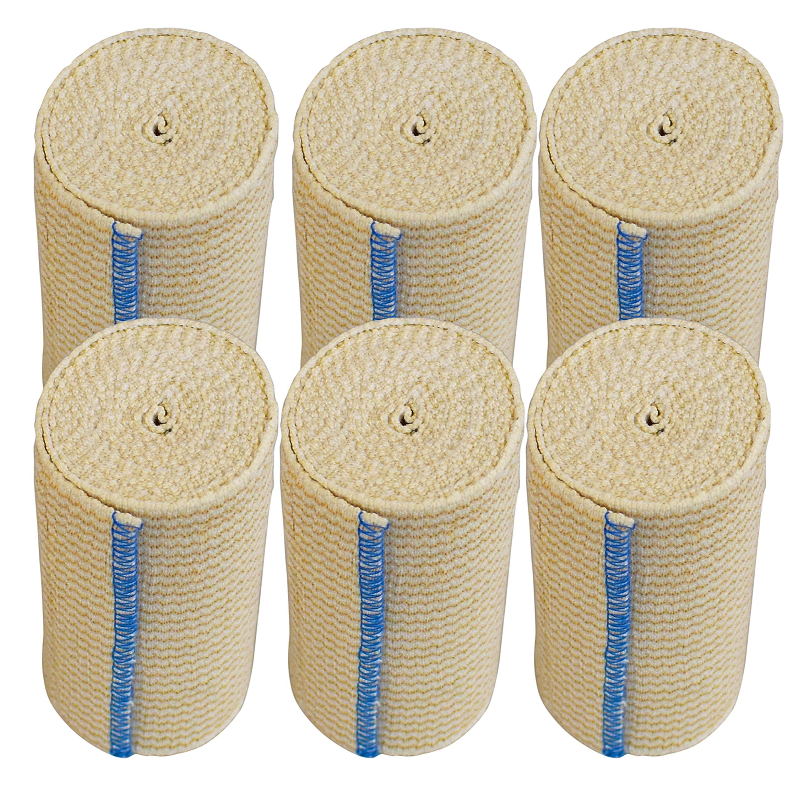 Nexskin Forever American Cotton Elastic Bandage Wrap with Hook and Loop Closure, 4'' Width (6 Pack)