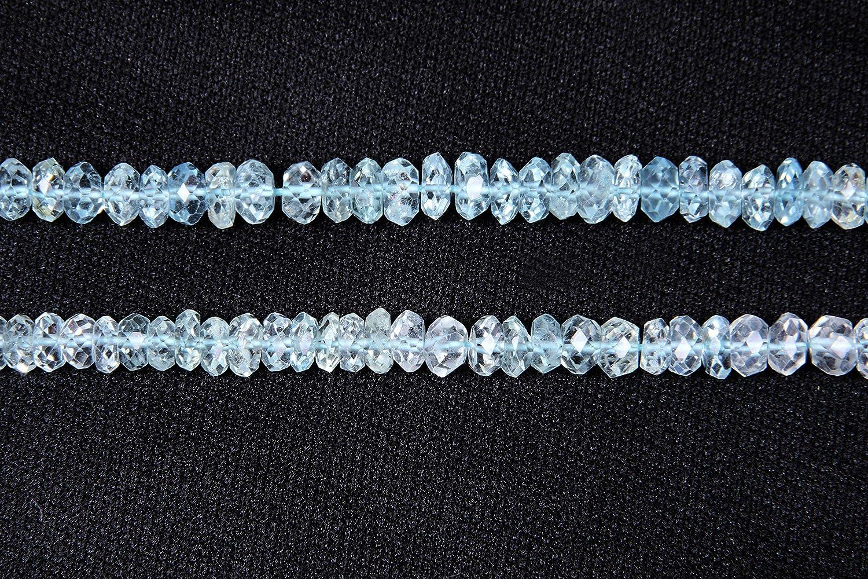 Nat/ürliche Aquamarin facettiert Rondellen Halbedelstein lose Perlen f/ür Schmuck machen Armband Halskette Ohrring 2 mm 3mm 4mm 5mm 6mm 7mm 8mm