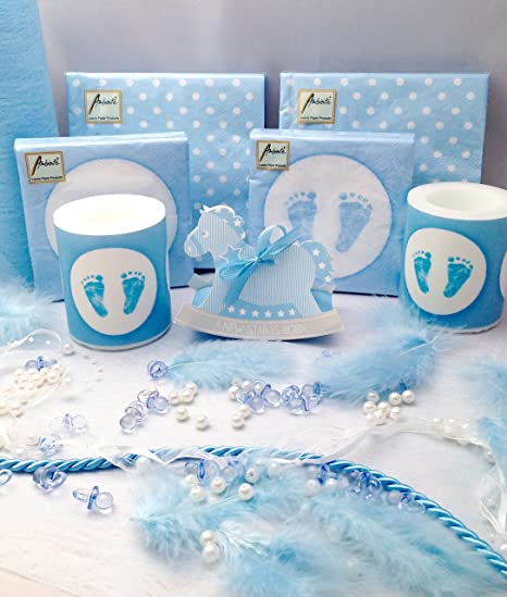 Treasured Memory 20 Personen Dekoset Zur Taufe Blau Baby
