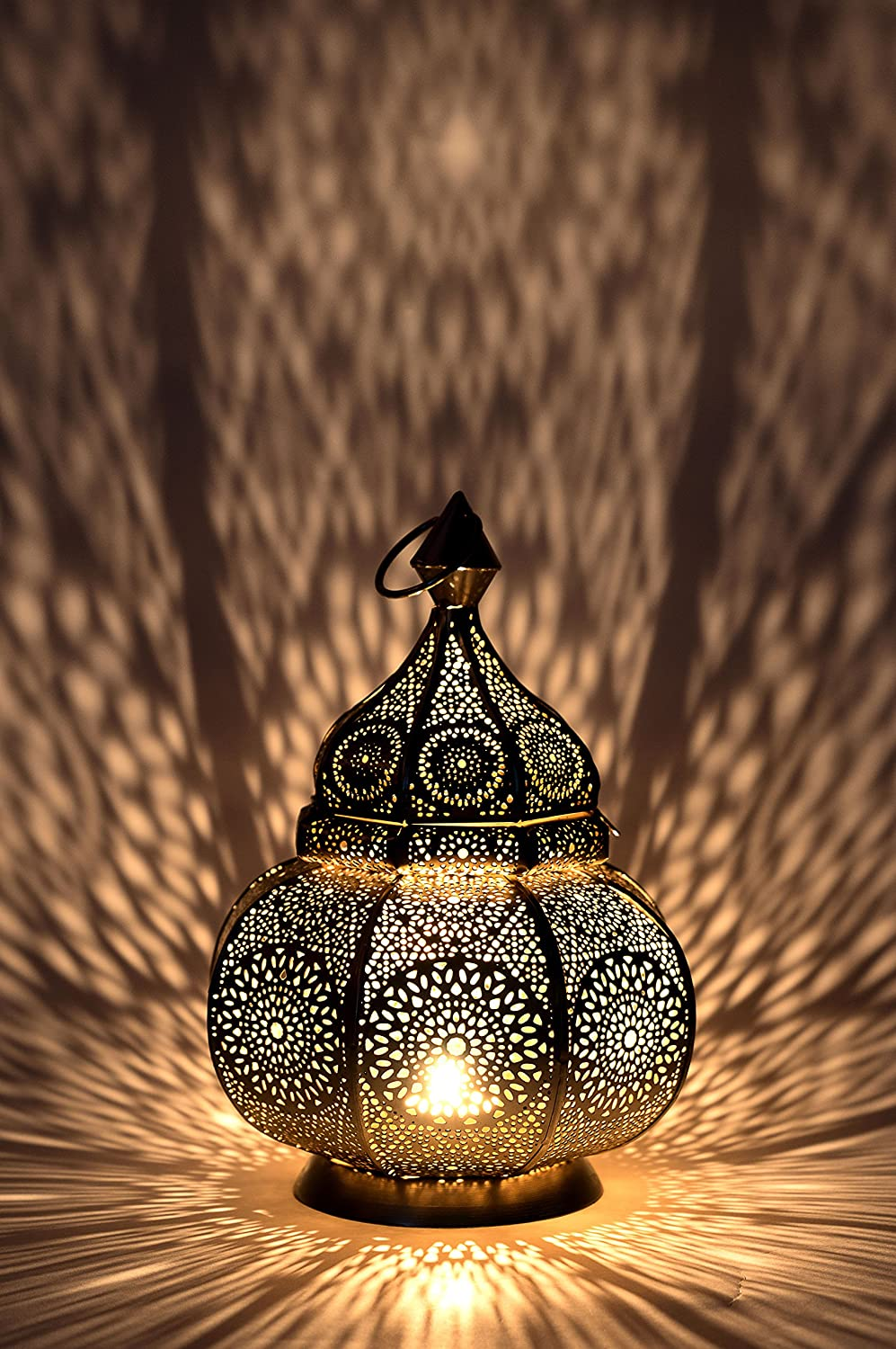 Moroccan Vintage Lantern Lights Lamp Ziva 30cm Gold Large | Oriental Garden Outdoor Hanging Lanterns for Candles as Decorations | Arabian Indoor Candle Tea Light Holders as Indian Party Home Decor