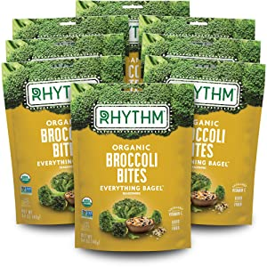 Rhythm Superfoods Crunchy Broccoli Bites, Everything Bagel, Organic & Non-GMO, 1.4 Oz (Pack Of 8), Vegan/Gluten-Free Vegetable Superfood Snacks