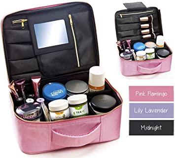 Travel Makeup Bag with Mirror \u0026 Adjustable Dividers , Best Cosmetic Case  Organizer Train Case