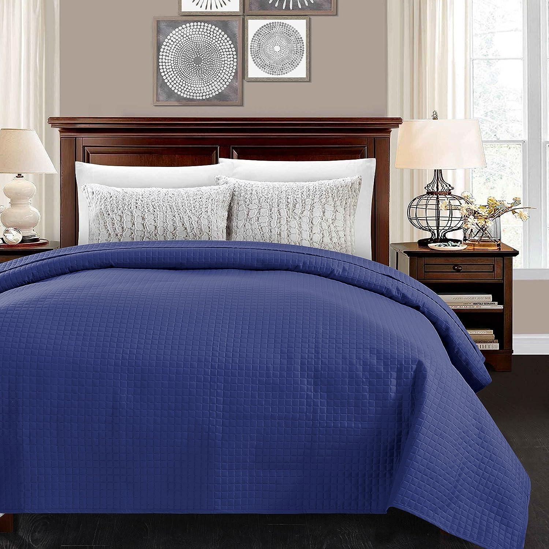 アルファホームLight Weight QuiltedベッドキルトLuxuryチェック模様パターンベッドカバーベッドスプレッドCoverlet Full/Queen(86*86'') ブルー B075QBKRMZ Full/Queen(86*86'')|ブルー ブルー Full/Queen(86*86'')