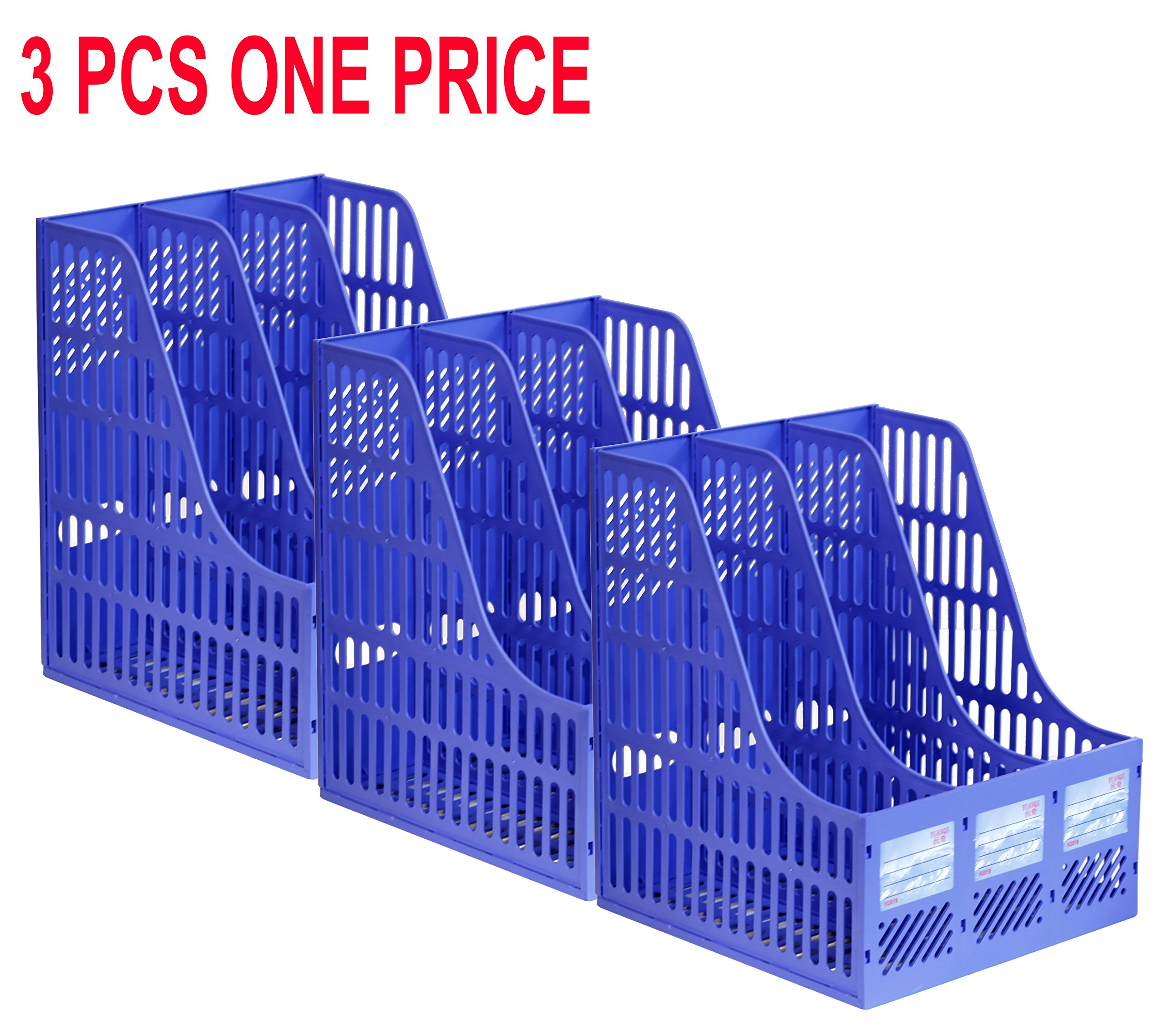 CoCo Island 3 Pack 3 Slots Office School Home Desk Plastic Magazine Literature File Holder Rack Case Box Crate Organizer (3 Slots)