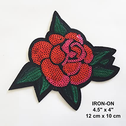 Amazon com: Sequin Rose Applique Patch, Pink RED Rose Petal