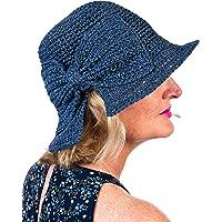 Clara Bow Womens' Foldable Cool Handmade Blue Hat & Gift/Storage Envelope