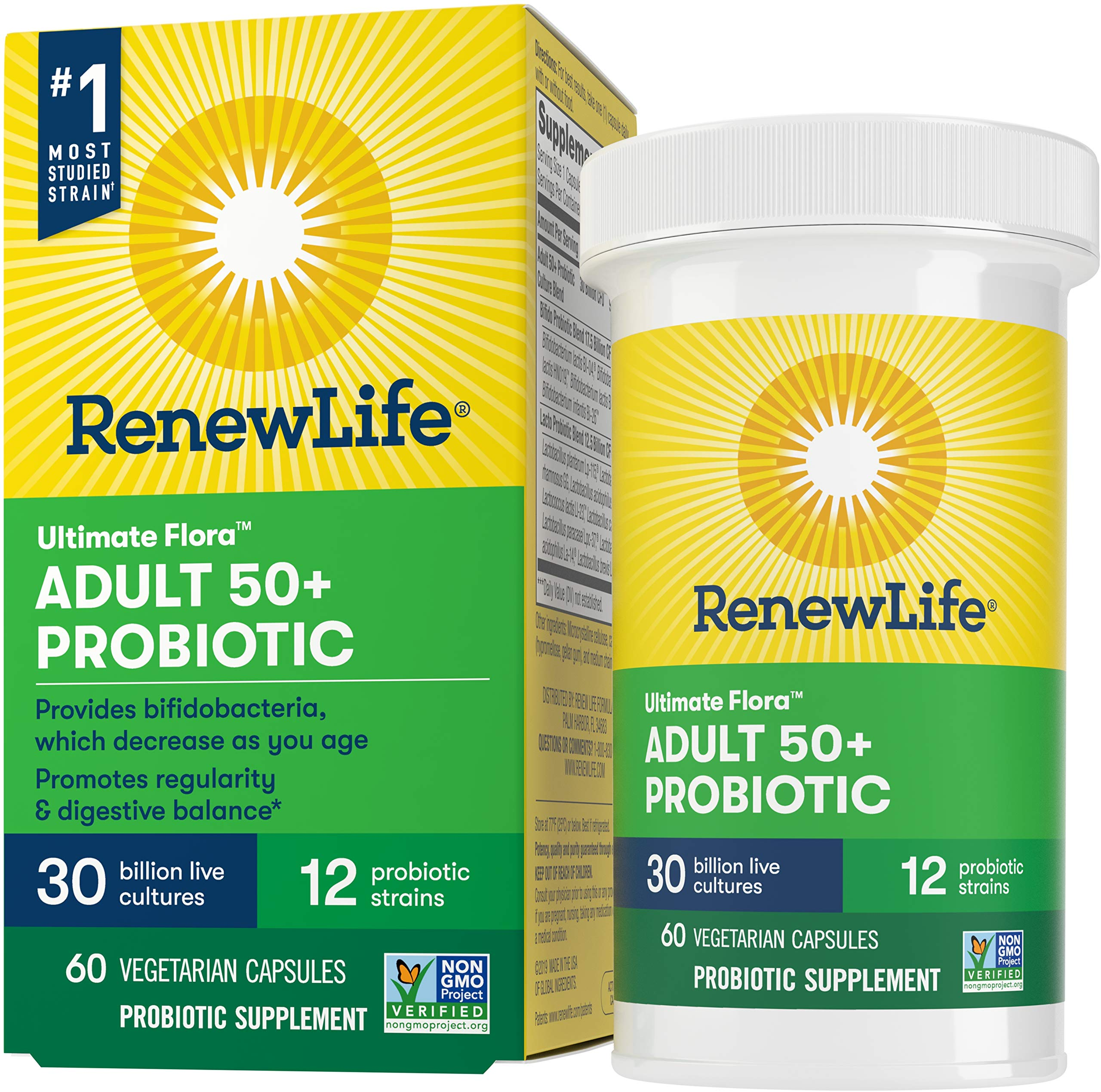 Renew Life Ultimate Flora Adult 50+ Probiotic, 30 Billion CFU, 60 Capsules; (Package May Vary)