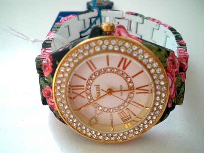 Sami RSM-77941-3 Reloj de Pulsera de Mujer Corona Cristal Correa Negro Flowers Print ...: Amazon.es: Relojes