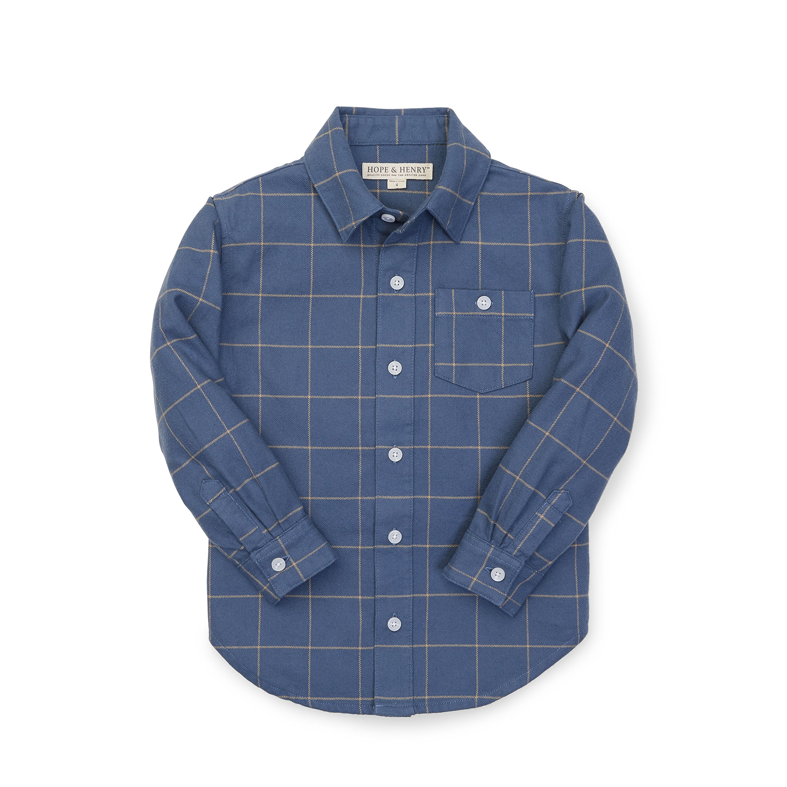 Hope & Henry Boys' Blue and Tan Brushed Cotton Button Down Top Made with Organic