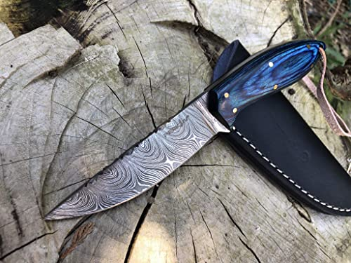 Perkin 7 Inches Damascus Steel Knife Hunting Knife with Sheath SK200