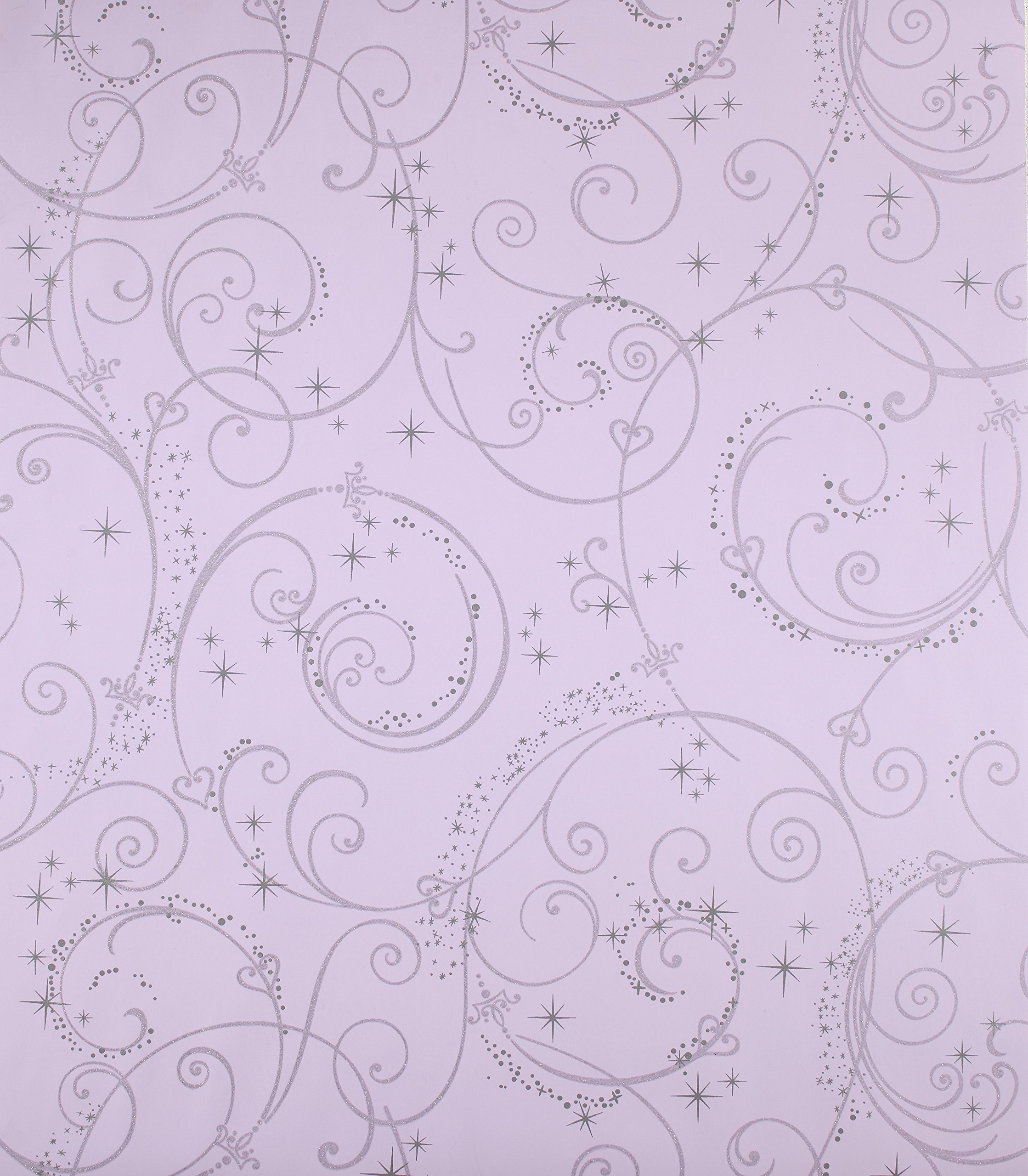 York Wallcoverings Disney Kids DK5965 Perfect Princess Scroll Wallpaper, Purple with Glitter