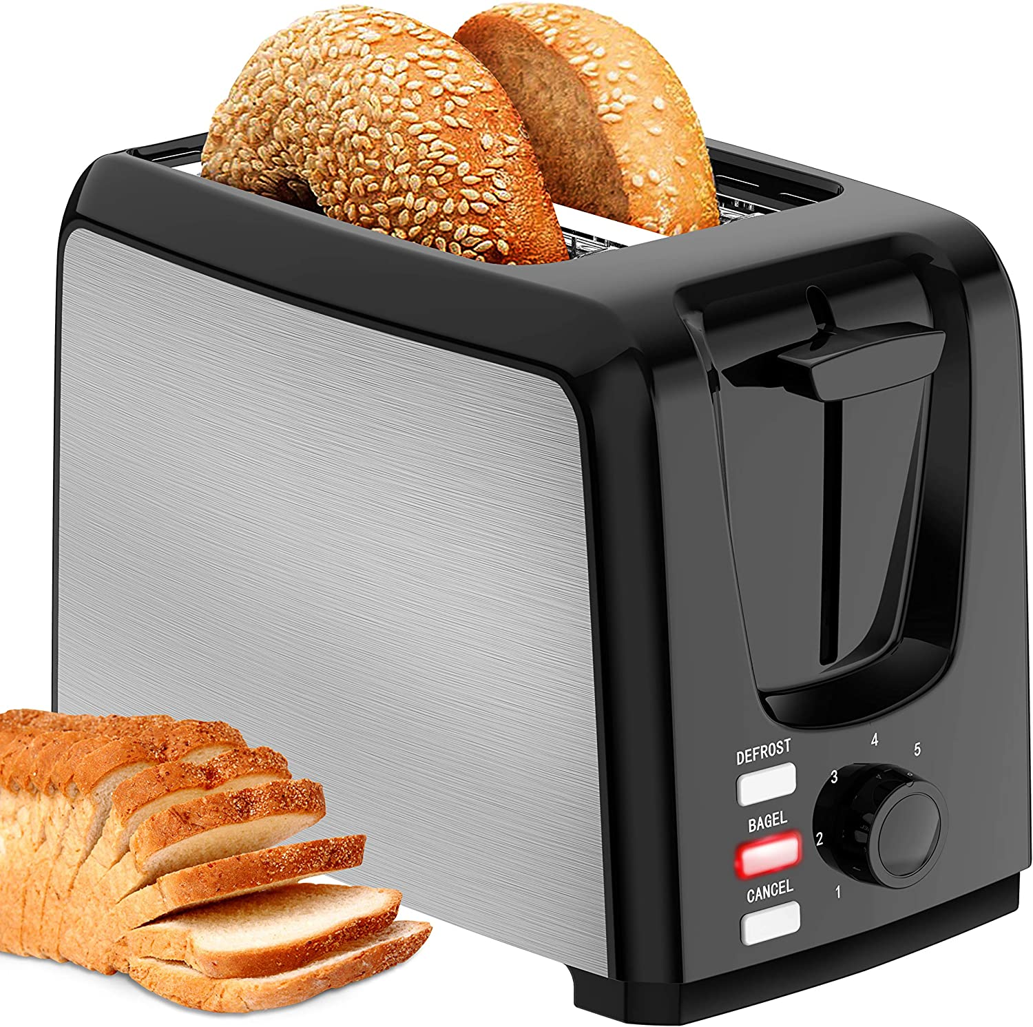 Toaster 2 Slice Wide Slot 2 Slice Toaster Best Rated with Bagel/Defrost/Cancel Function Cool Touch Black Toaster for Bread Bagel with Removable Crumb Tray