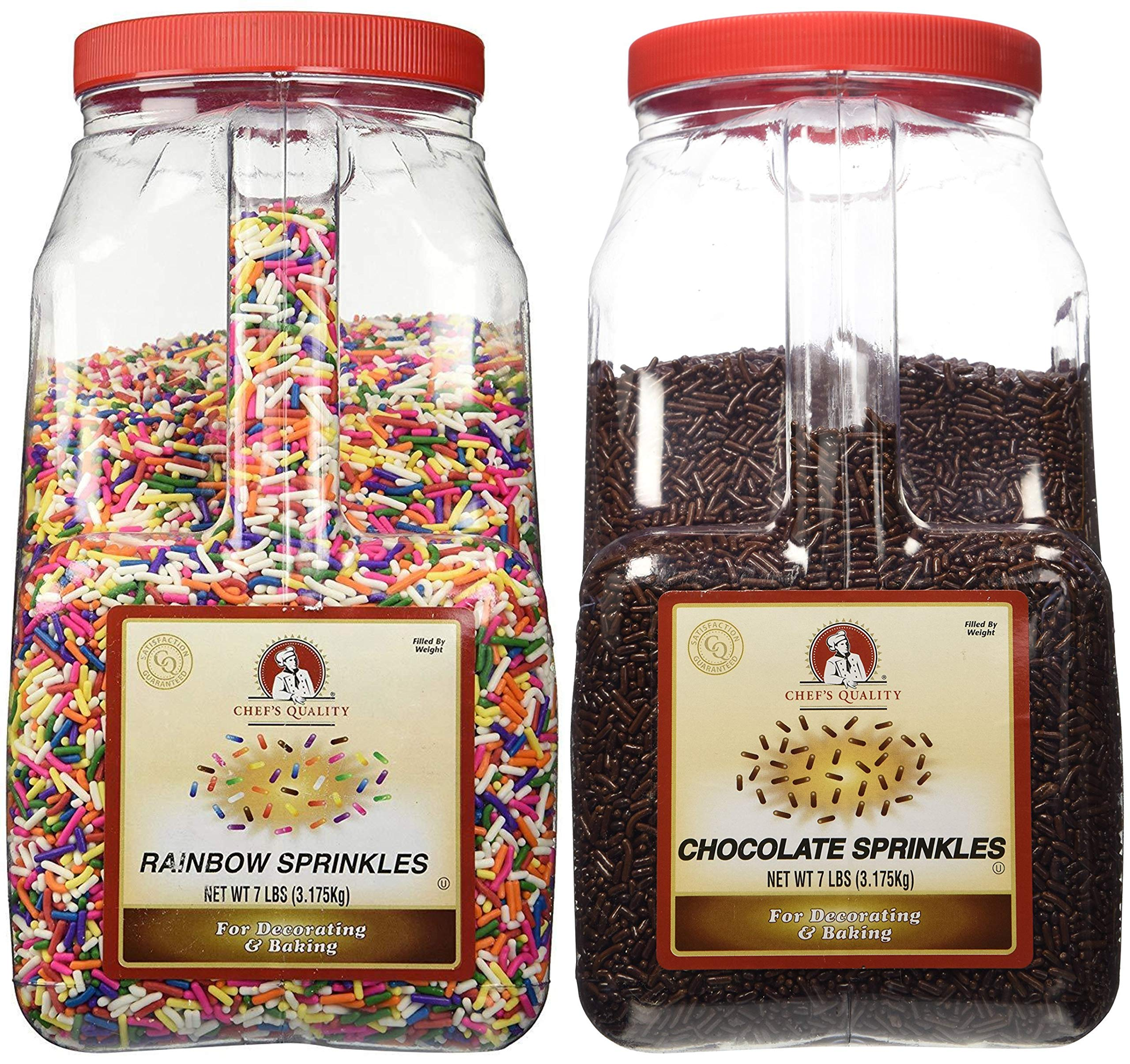 Chef's Quality Rainbow and Chocolate Sprinkles bundle 7lb. each (packed and sold by Bay Area Marketplace) Bay Area Marketplace Tote Bag Included with Purchase