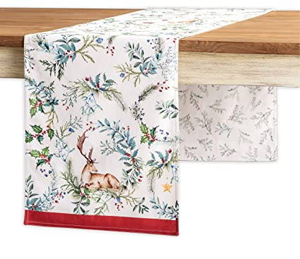 Maison d' Hermine Holly Time 100% Cotton Table Runner - Double Layer 14.5 Inch by 72 Inch. Perfect for Thanksgiving and Christmas best Christmas table runners