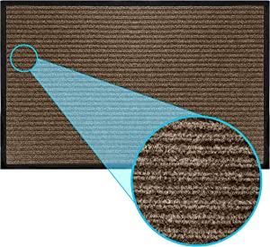LuxUrux Durable Rubber Door Mat, Heavy Duty Doormat, Indoor Outdoor, Easy Clean, Waterproof, Low-Profile Mats for Entry, Patio, Garage, High Traffic Entrance Ways (17'' x 30'', Striped Brown)