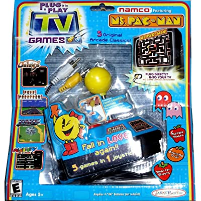 Pac-Man Ms Plug-and-Play with 5 Classic Arcade Games: Toys & Games