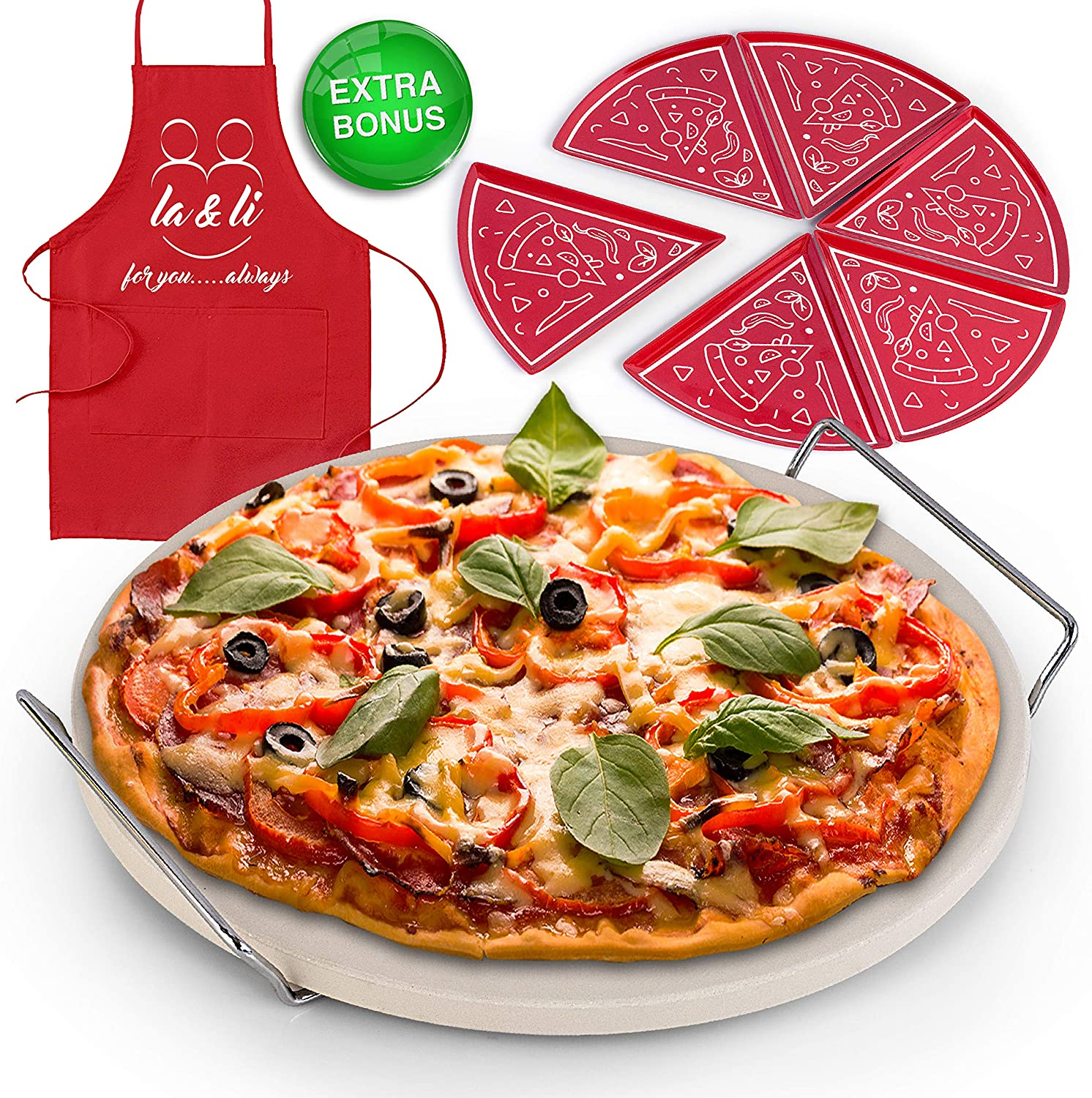 La & Li Premium Pizza Stone Set: Large 15 Inch Round Plate for Oven or BBQ Grill, Multipurpose Rack Stand with Handles, 6 Pizza-Pie Plates and Apron