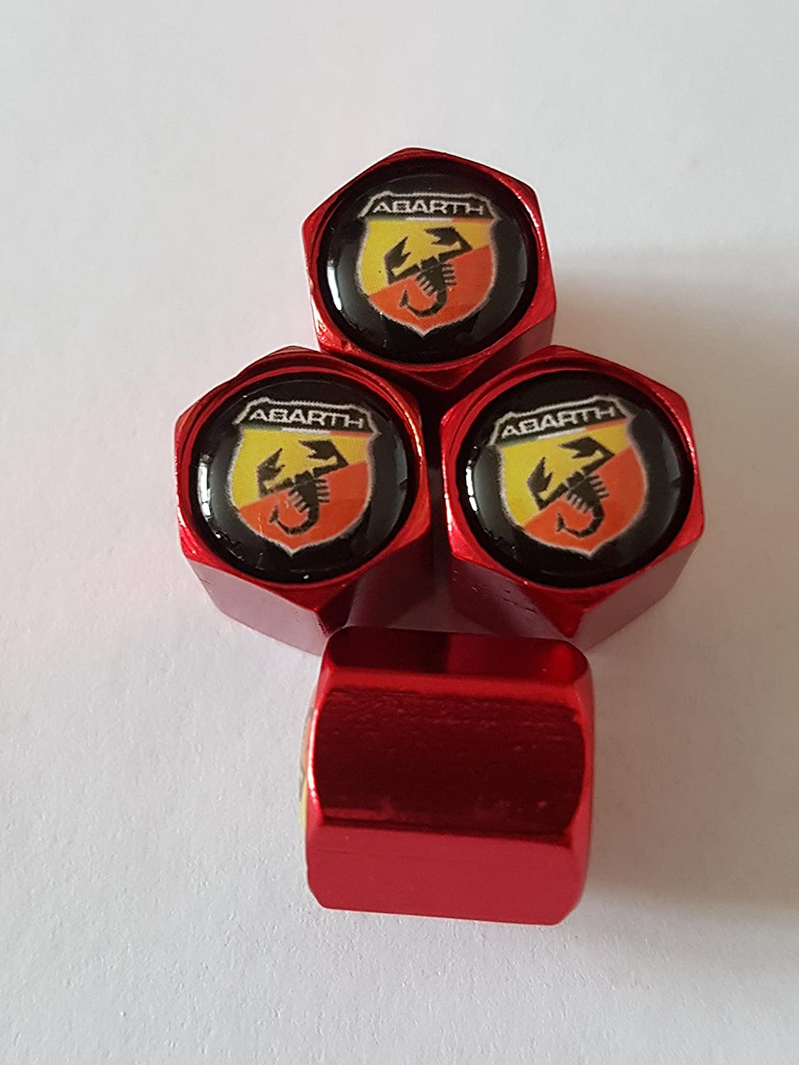 Speed Demons Abarth Fiat red deluxe alloy valve caps these dust caps fit all models Speed Demons ®