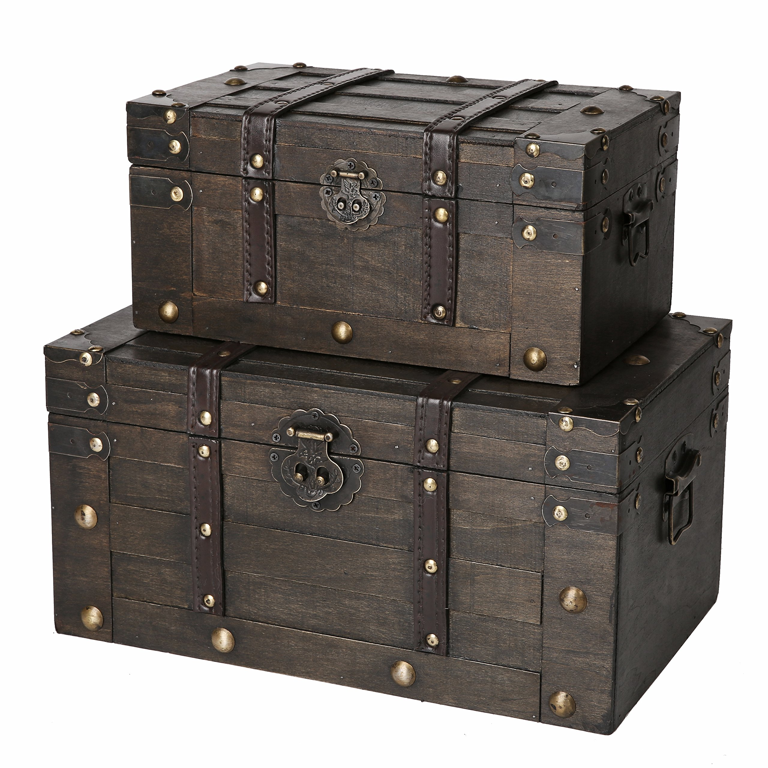 SLPR Alexander Wooden Trunk Chest with Straps (Set of 2, Rustic Brown) | Decorative Treasure Stash Box Old-Fashioned Antique Vintage Style for Birthday Parties Wedding Decoration