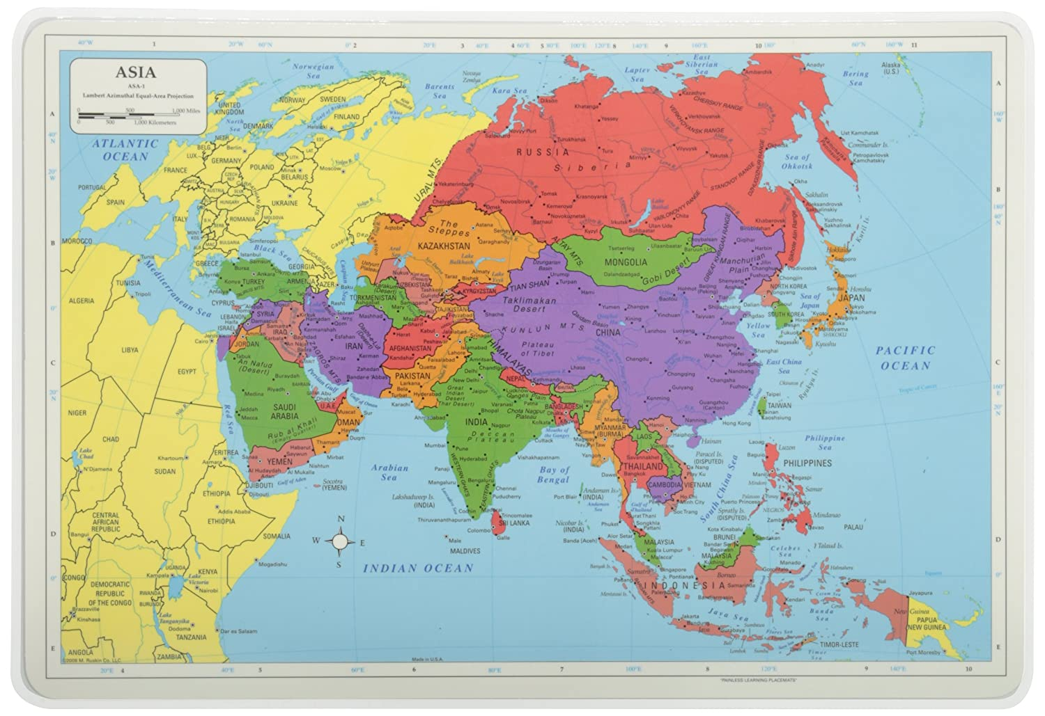 Painless Learning ASA-1 Asia Placemat   B002C8MANS