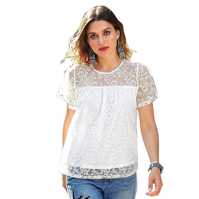 VENCA Camiseta Escote Redondeado y Manga Corta Capa by Vencastyle, Blanco, S: Amazon.es: Ropa y accesorios