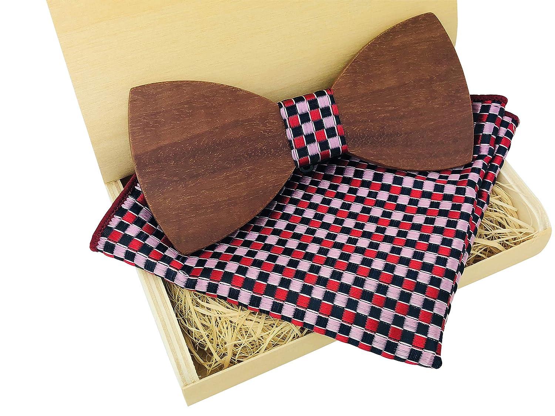 Lelio & friends Designer-Holzfliege mit passendem Einstecktuch, handgearbeitet in einer edlen Holzschachtel, ein extravaganter Hingucker! 16000