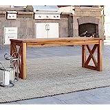 Walker Edison Roanoke Modern Solid Acacia Wood X Frame Outdoor Bench, 52 Inch, Brown