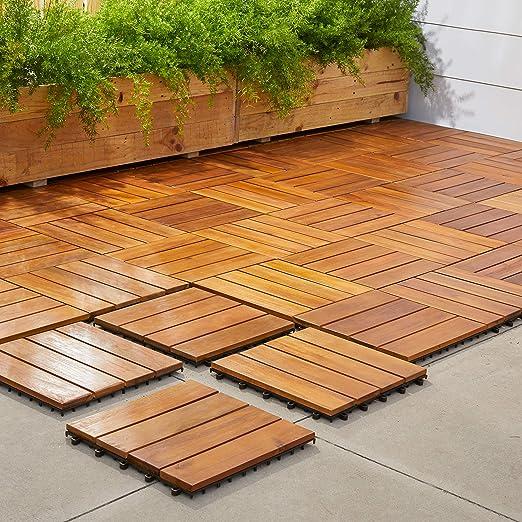 Vifah V488 teca madera de acacia Cubierta azulejos – 4 – Caja de 10: Amazon.es: Jardín