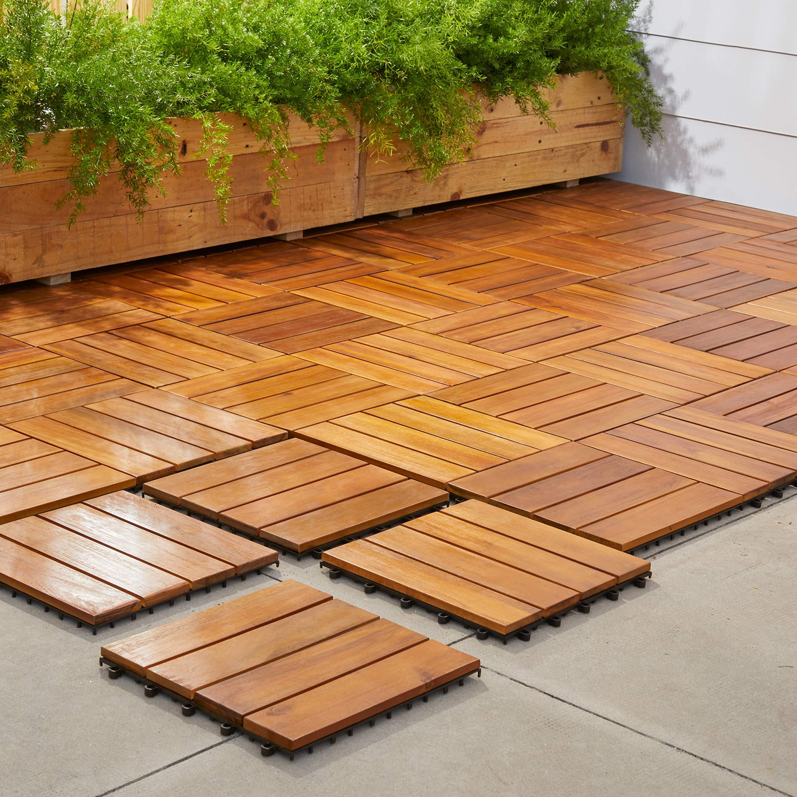 VIFAH V488 Interlocking Acacia Plantation Hardwood Deck Tile 4-Slat Style, 10-Pack, Teak Finish, 12 by 12 by 1-Inch by Vifah