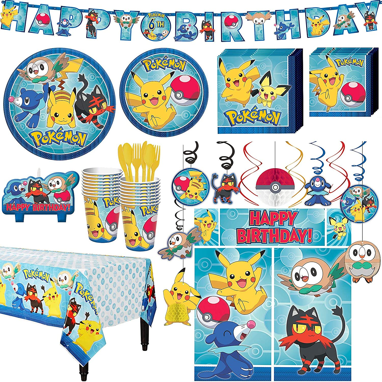 Party City Pokemon Core Birthday Party Kit, Includes Happy Birthday Banner  \u0026 Decorations, Serves 16