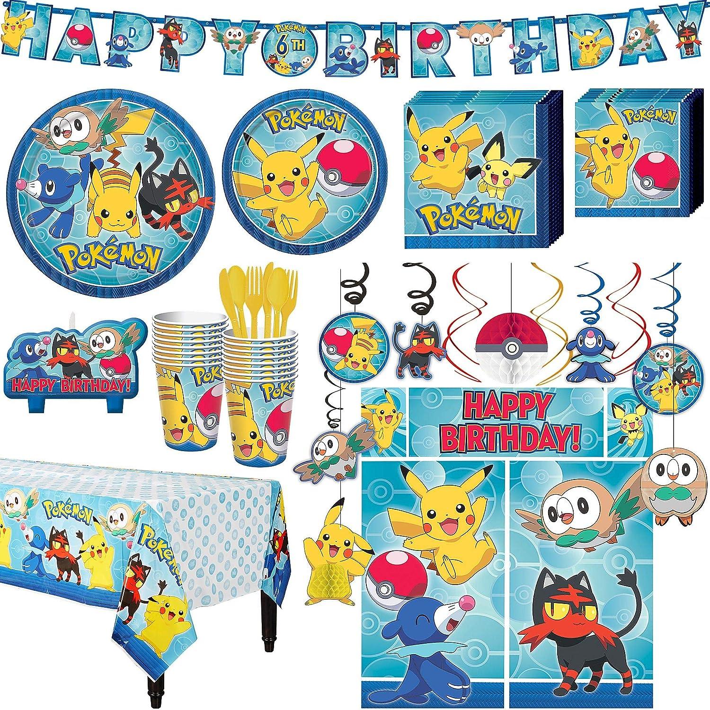 Amazon.com: Kit de fiesta de cumpleaños Pokémon, incluye ...